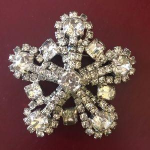 Vintage rhinestone snowflake star oversized pin